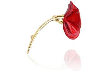 Luxury Vintage Style Red Green Poppy Flower Symbolic Brooch Pin BR304-1