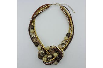 (Brown) - BOCAR Aquamarine Seed Beads Antique Gold Multilayer Statement Collar Necklace