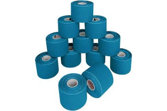 (6 rolls, Light Blue) - ALPIDEX Kinesiology Tape 5 m x 5 cm E- Book Application Examples Muscle Support Elastic Strapping Tape, Colour:Light Blue, Quantity:6 Rolls