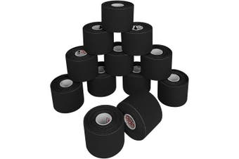 (3 rolls, Black) - ALPIDEX Kinesiology Tape 5 m x 5 cm E- Book Application Examples Muscle Support Elastic Strapping Tape, Colour:Black, Quantity:3 Rolls