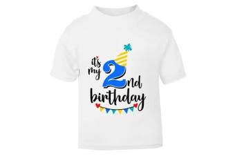 (2 - 3 Years) - It's My 2nd Second Birthday T-Shirt - Childrens Kids T Shirt Boys Cake Smash (2 - 3 Years)