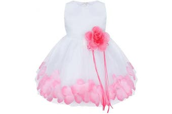 (9-12 Months, Pink) - CHICTRY Petals Flower Baby Girls Princess Tutu Wedding Bridesmaid Formal Pageant Party Tulle Dresses