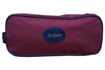 (Burgundy/Navy) - Beal Shoe Boot Bag Burgundy/Navy Blue Nylon Synthetic Material Zip Top & Handle 36cm x 15cm x 13cm