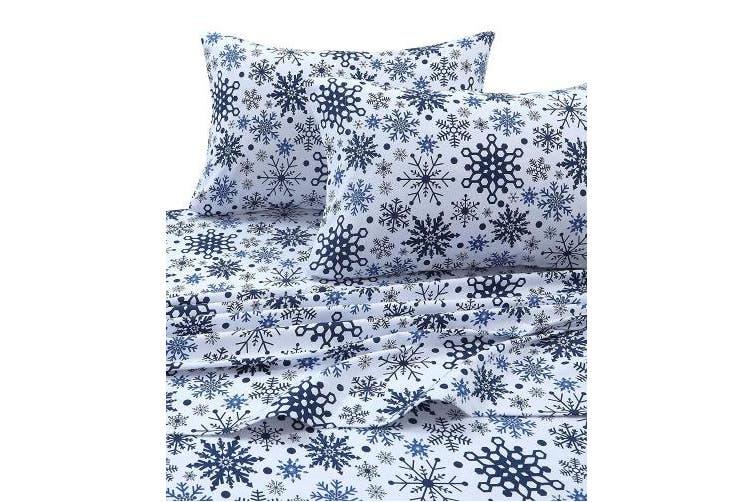 California King Snowflakes Multi Tribeca Living Snowflakes Printed Flannel Deep Pocket Sheet Set Snowflakes Multi California King Matt Blatt