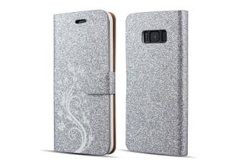 (Samsung Galaxy A3 2017, Silver) - UEEBAI Case for Samsung Galaxy A3 2017,Luxury Bling Glitter Case with [Magnetic Closure] [Card Slots] [Kickstand] PU Leather Flip Wallet Cover Case with Elegant Flower Patterns Printing for Samsung Galaxy A3 2017 -