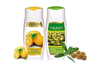 Vaadi Herbals Anti-Dandruff Defence Lemon Shampoo + Olive Conditioner Organic Shampoo And Conditioner Set 110 Ml X 2
