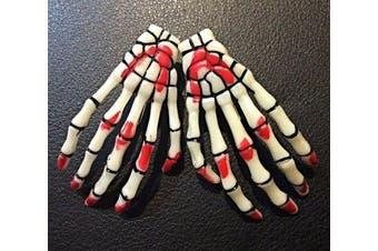 (Blood Stained Glow in the Dark) - ATST Pair (2) Skeleton Claw Bone Hand Hair Clip (Blood Stained Glow in the Dark)