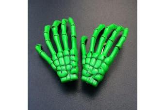 (Green) - ATST Pair (2) Skeleton Claw Bone Hand Hair Clip (Green)