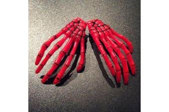 (Red) - ATST Pair (2) Skeleton Claw Bone Hand Hair Clip (Red)