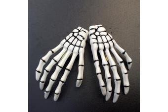 (White) - ATST Pair (2) Skeleton Claw Bone Hand Hair Clip (White)