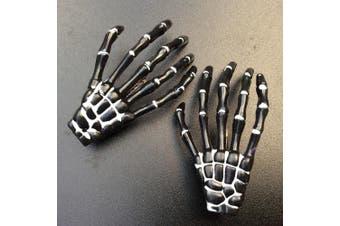 (Black) - ATST Pair (2) Skeleton Claw Bone Hand Hair Clip (Black)