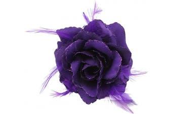 (Purple) - Purple Rose Hair Clip Fascinator