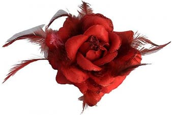 Red Rose Hair Clip Large Rose Fascinator Rose Hair Accessories Clip Elastic Wedding