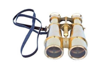 Hampton Nautical Captain's Solid Brass Binoculars, 15cm , Brass