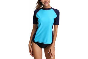 (Medium, Aqua/Navy) - CharmLeaks Womens Short Sleeve Rash Vest Surf Sports Rash Guard Tops Swimsuits Swimwear UPF 50+