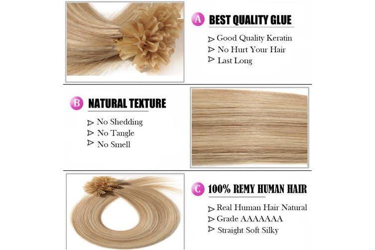 (60cm , #18/613 Ash Blonde mix Bleach Blonde) - 41cm - 60cm U Tip Hair Extensions Pre Bonded Remy Human Hair Highlights 100S Keratin Nail Straight (60cm -50g, 18/613 Ash Blonde/Bleach Blonde)