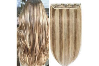 (60cm  - 55g, #12/613 Golden Brown/Bleach Blonde) - One Piece Clip in Real Remy Human Hair Extensions Long Straight 3/4 Full Head, 60cm -55g #12/613 Golden Brown/Bleach Blonde
