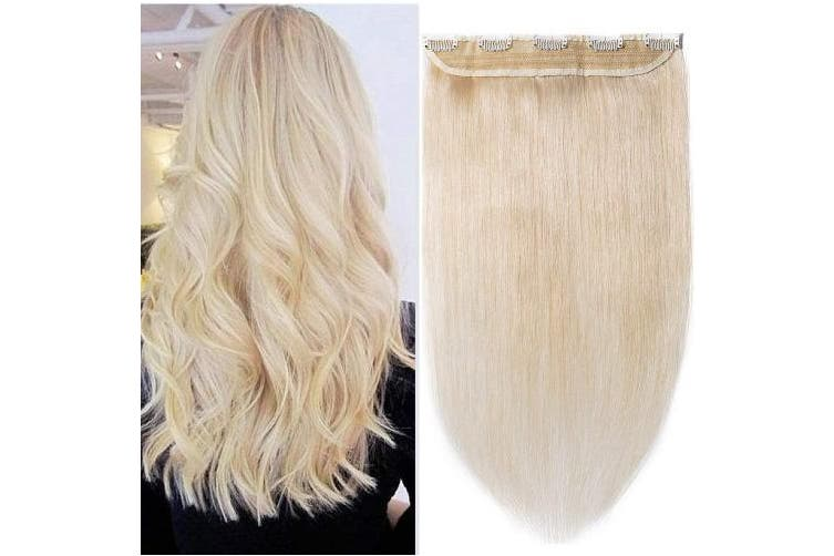 (41cm  - 45g, #60 Platinum Blonde) - 41cm One Piece Clip in 100% Remy Human Hair Extensions Long Straight 3/4 Full Head Real Hair 5Clips, 45g #60 Platinum Blonde