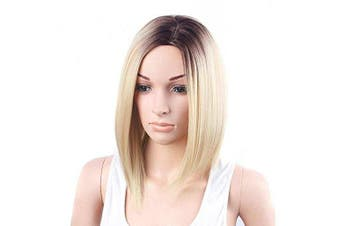 (#TBLEACH BLONDE) - Ombre Synthetic Hair Wig Dark Roots Black Brown to Bleach Blonde Short Bobo Straight Fabulous Medium Part Full Wig Natural As Real Hair Party Costume Cosplay Wigs (#TBLEACH BLONDE)