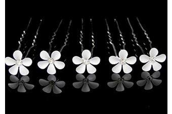 (5 Pins) - White Daisy Flower Hair Pin (5 Pins)