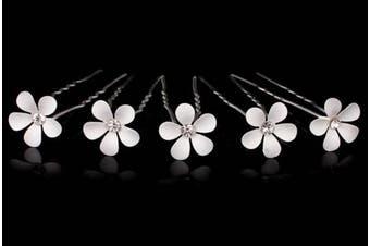 (10 Pins) - White Daisy Flower Hair Pin (10 Pins)