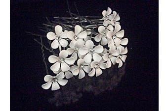 (20 Pins) - White Daisy Flower Hair Pin (20 Pins)