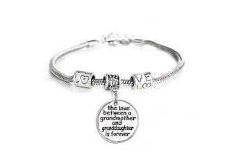 BESPMOSP The Love Between Grandmother and Granddaughter is Forever Charm Bracelet Christmas Gift
