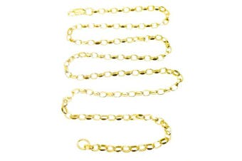 (7.5 inches) - ANTOMUS® 18K GOLD VERMEIL Solid Sterling Silver DIAMOND CUT Oval Link Belcher chain 3.5mm WIDE 7.5 INCH - 40 INCH