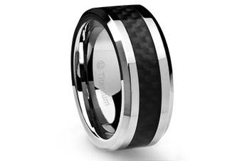 (T) - Cavalier Jewellers 10MM Men's Titanium Ring Wedding Band Black Carbon Fibre Inlay and Bevelled Edges
