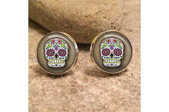 (Bronze) - Sugar Skull Paisley Glass Dome Round Cabochon Stud Earrings Gift UK