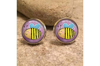 (Bronze) - Bumble Bee Stud Earrings| Bees| Save the Bees| honey bee| bee jewellery| bee jewellery| gift for her| wife gift| gift for wife| christmas gift
