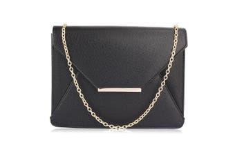 (Design 2 - Black) - Womens Large Size Clutch Purse Envelope Look Faux Leather Ladies Handbag Designer With Chain