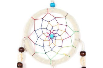 """(Natural White - Ø: 9 Cm / 3.54"""") - Dreamcatcher for Good Dreams with Pearls and Real Feathers White Nature Ø 9cm"""