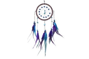 """(Violet turquoise Ø 4.33"""" - 11 cm) - Dreamcatcher for Good Dreams with Pearls and Real Feathers Violet Turquoise Ø 4.33"""" - 11 cm"""