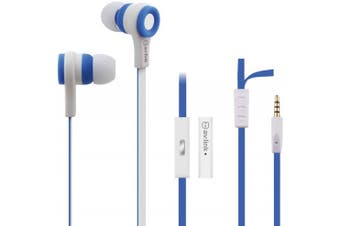 (BLUE & WHITE) - Tough Rubberised Stereo Headphones With Hands-Free