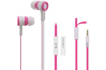 (PINK & WHITE) - Tough Rubberised Stereo Headphones With Hands-Free
