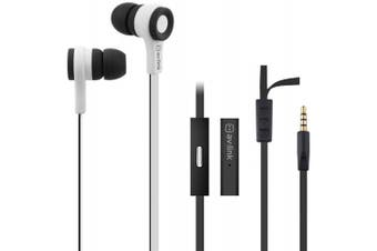 (BLACK & WHITE) - Tough Rubberised Stereo Headphones With Hands-Free