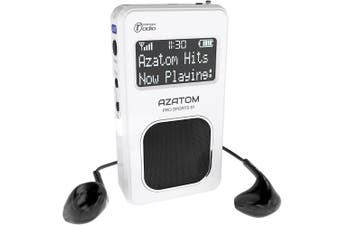 (White) - Pro Sports S1 DAB Digital Portable FM Radio: Azatom Pro Sports S1 - DAB DAB+ & FM - Built-in Rechargable Battery (Upto 20 Hours Playtime) - Compact - Built-in Speaker - Earphones included (White)