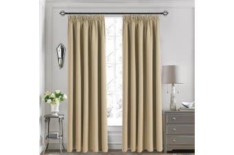 "(Beige, Pencil Pleat, 170cm W x 140cm L) - Blackout Pencil Pleat Window Curtains - Aquazolax Solid Decorative Thermal Insulated Draperies Curtains of Two Panels for Bedroom / Noise Reducing, 66"" * 54""(167cm W x 137cm L), Beige"