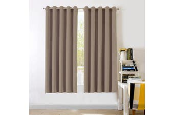 (Khaki, Eyelet, 170cm W x 180cm L) - Thermal Insulated Interwoven lining Curtains - Aquazolax 2 Panels of Eyelet Top Noise Reducing Energy Saving Curtains Drapes for Kitchen, 66 inch x 72 inch(167cm W x 182cm L), Khaki