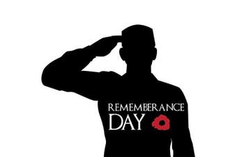 (Small - 5x4.5cm) - Remembrance Day Army Soldier Salute Sticker, Poppy Flower Decal, Car, Window, Fridge, Laptop Sticker (Small - 5x4.5cm)