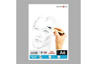 A6 Sketch Pad White Drawing Artist Paper GUMMED Book - 50 Sheets - 100 Pages