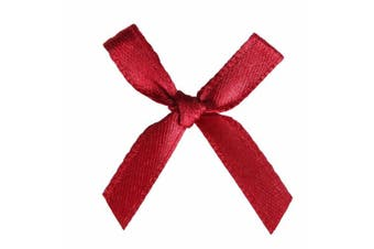 (100 Pcs, Burgundy) - AKA 50/100 Pcs Bow Satin 3cm Wide Ribbon Pre-Tied Bows Craft Scrapbooking Various Colours (100 Pcs, Burgundy)
