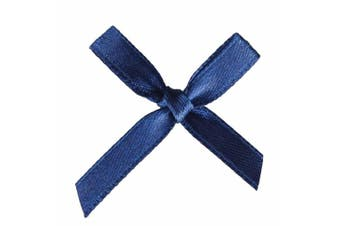 (100 Pcs, Navy Blue) - AKA 50/100 Pcs Bow Satin 3cm Wide Ribbon Pre-Tied Bows Craft Scrapbooking Various Colours (100 Pcs, Navy Blue)