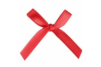 (100 Pcs, Red) - AKA 50/100 Pcs Bow Satin 3cm Wide Ribbon Pre-Tied Bows Craft Scrapbooking Various Colours (100 Pcs, Red)