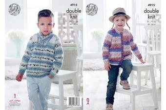 King Cole Childrens Double Knitting Pattern Boys Girls Cable Knit Sweater & Cardigan (4915)