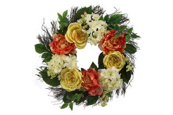 (Yellow Rose Mix) - Admired By Nature GFW7059-Natural Rose, Hydrangea, Peony Spring Greenery for Home Office Front Door Wreath, Wall Hanging Arrangement Decoration, Natural, 60cm
