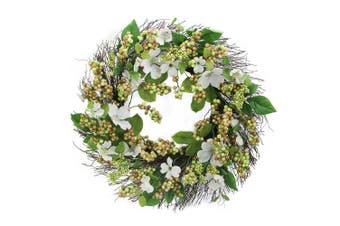 Admired By Nature GFW7060-Natural Dogwood, Berry Spring Greenery for Home Office Front Door Wreath, Wall Hanging Arrangement Decoration, Natural, 60cm