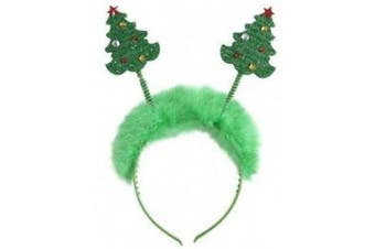 One BFD Christmas Tree Head Bopper Festive Hat Fancy Dress. Women's Girls's Christmas Head Bopper Headband. Novelty Hairband. Christmas Tree With Red and Gold Jewels. Clean With Damp Cloth