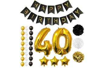 (Age 40) - BELLE VOUS Happy Birthday Party Balloons, Supplies & Decorations All-in-One Set - Large 40 Years Foil Balloon - Latex Balloon Decoration - Decor Suitable for All Adults (Age 40)